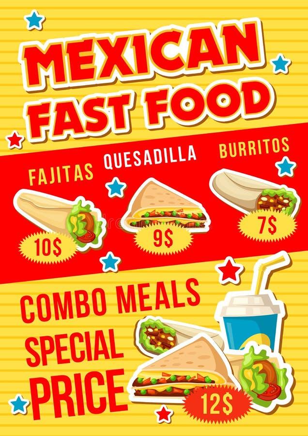 Repas combiné de restaurant mexicain d'aliments de préparation rapide illustration libre de droits