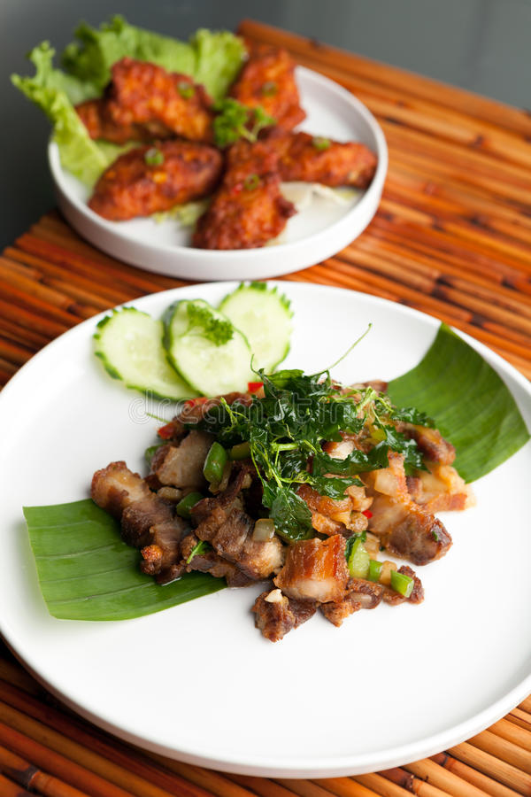 Repas croustillant thaïlandais de porc photos libres de droits