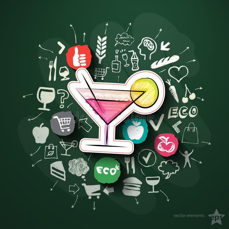 Repas et collage de boissons avec des icônes sur le tableau noir illustration de vecteur
