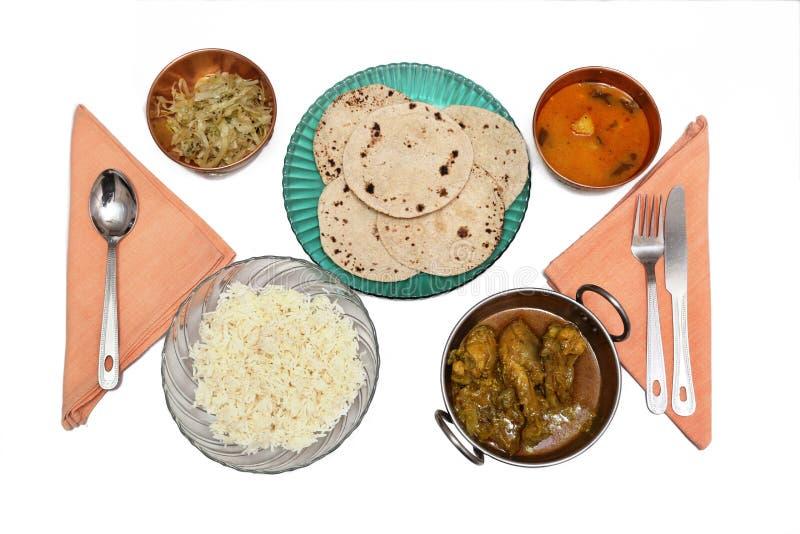 Repas indien du nord de chapatti de riz de non-veg photo libre de droits