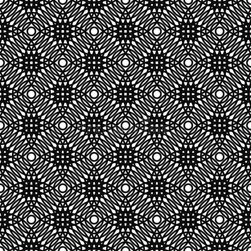Repeat black and white vector grid pattern design. Repeat black and white circle grid pattern design stock illustration