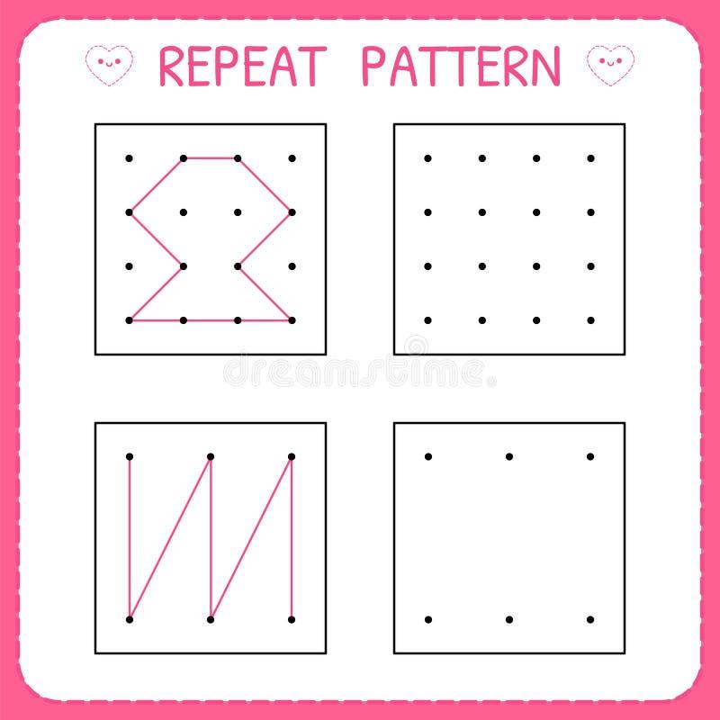 Repeat Pattern. Kindergarten Educational Game For Kids. Working Pages For  Children. Preschool Worksheet For Practicing Motor Stock Vector -  Illustration Of Learn, Basic: 148945962