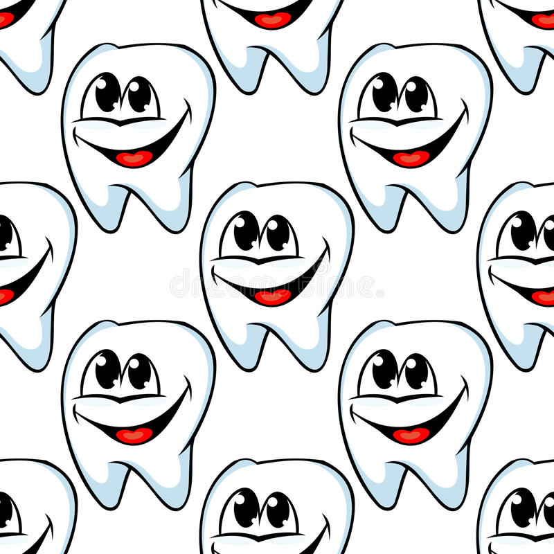 Repeat pattern of happy healthy. Repeat seamless pattern of happy healthy teeth with huge cheerful smiles in square format suitable for textile or wallpaper royalty free illustration