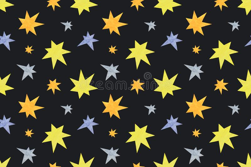 A repeat pattern of stars of different colors and sizes on the black background, symbol of holiday family celebrations. Simple ornament royalty free stock photo