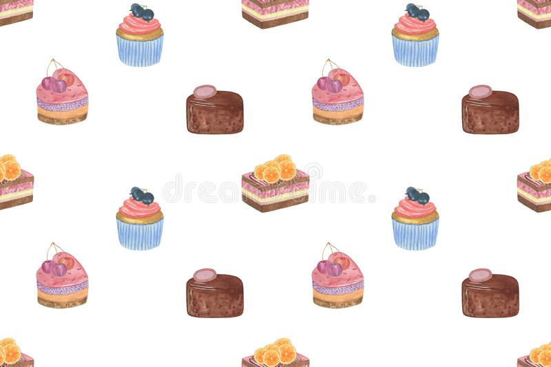 Repeat pattern of sweet desserts on the white background, fruit cake, heart-shaped, chocolate, cupcake, food illustration for royalty free illustration