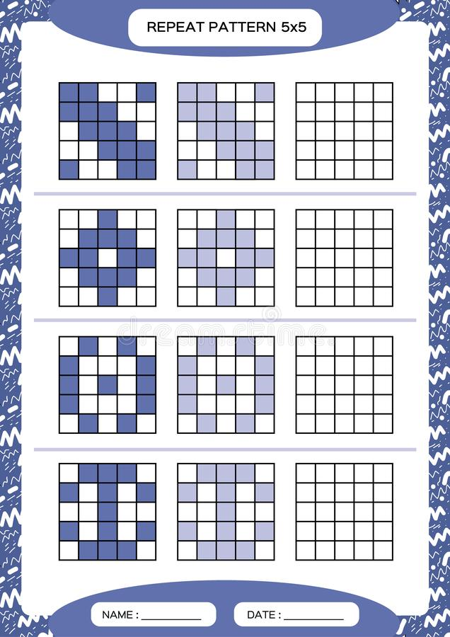 Repeat purple pattern. Cube grid with squares. Special for preschool kids. Worksheet for practicing fine motor skills. Improving skills tasks. A4. Snap game royalty free illustration