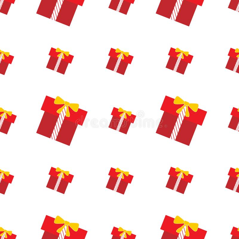 Repeat seamless pattern with red and yellow gift boxes on the white background. Vector fun ornament for cards, posters, wrapping paper, scrap booking vector illustration