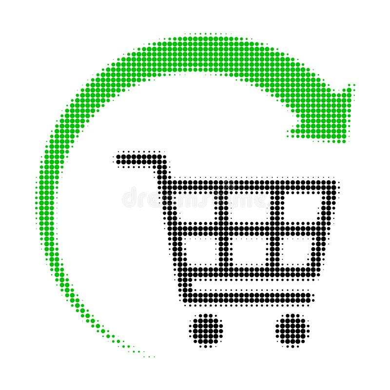 Repeat Shopping Cart Halftone Dotted Icon stock illustration