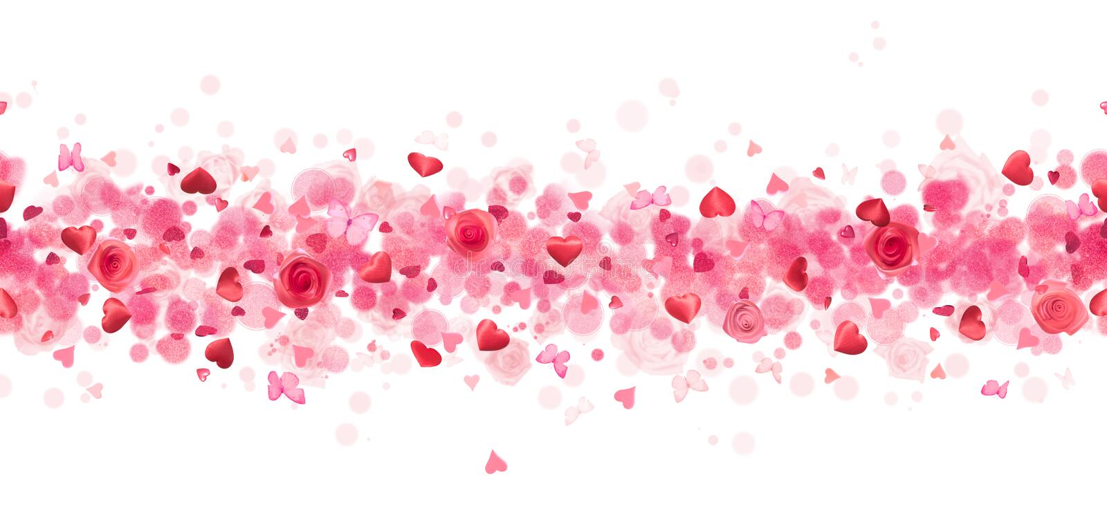 Repeatable hearts, roses and butterflies. Repeatable line of various heart shapes, butterflies, rose buds and bokeh particles over a glitter texture, in depth of stock photography