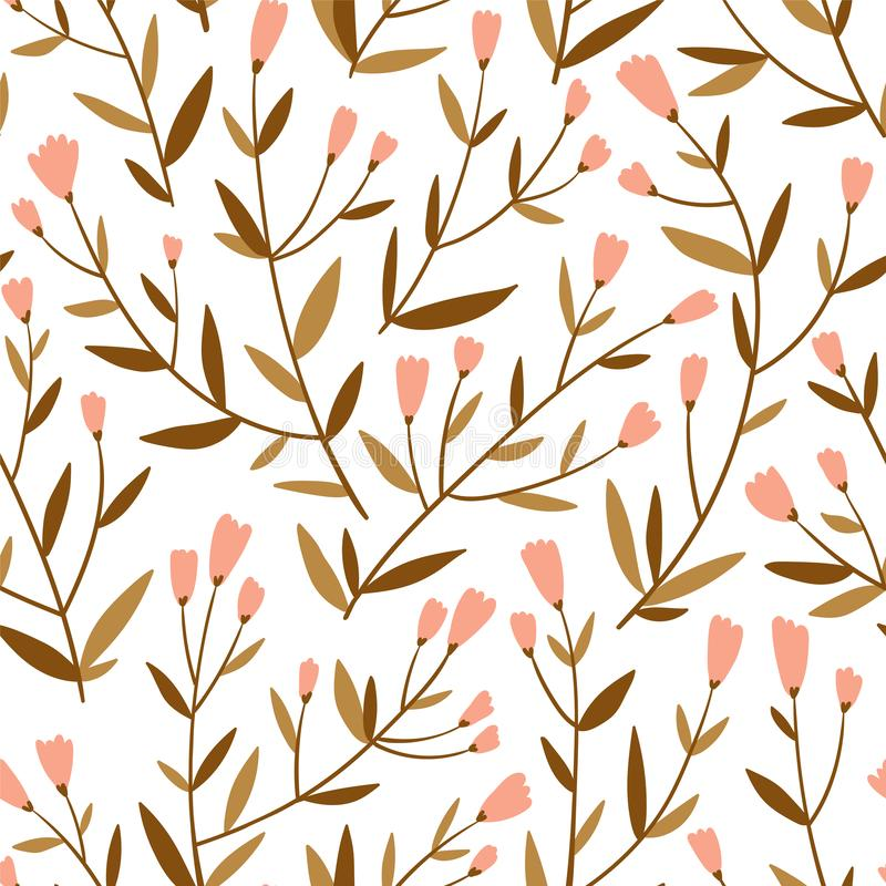 Repeated background with delicate sprigs and little flowers. Cute floral vector seamless pattern. royalty free illustration
