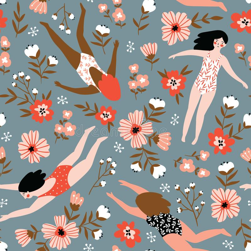 Free Repeated Background With Figures Of Young Girls In Swimsuits Of Different Nationalities. Vector Illustration. Stock Image - 127794241