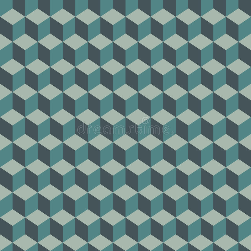 Repeated blue color cubes background. Geometric shapes wallpaper. Seamless surface pattern design with polygons. royalty free illustration