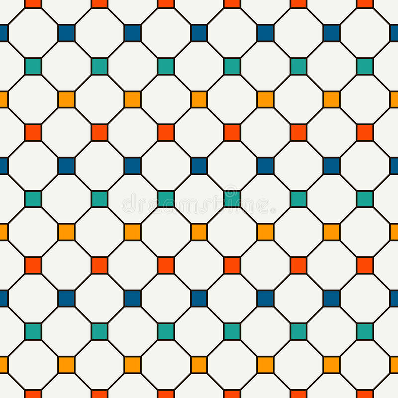 Repeated bright squares abstract background. Minimalist seamless pattern with geometric ornament. Checkered wallpaper. Repeated bright squares abstract royalty free illustration