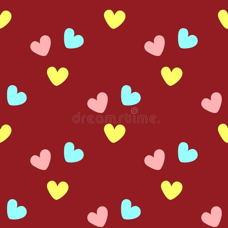Repeated coloured hearts. Cute seamless pattern. Simple romantic print. stock illustration