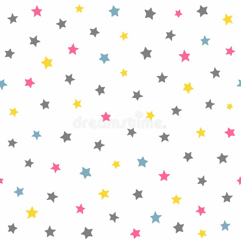 Free Repeated Coloured Stars. Cute Seamless Pattern For Kids. Stock Photos - 132870453