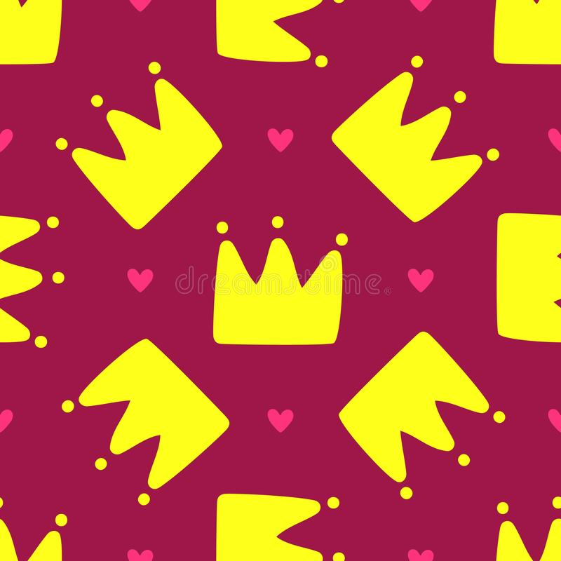 Repeated crowns and hearts. Cute seamless pattern for children. Endless girlish print. Girly vector illustration vector illustration