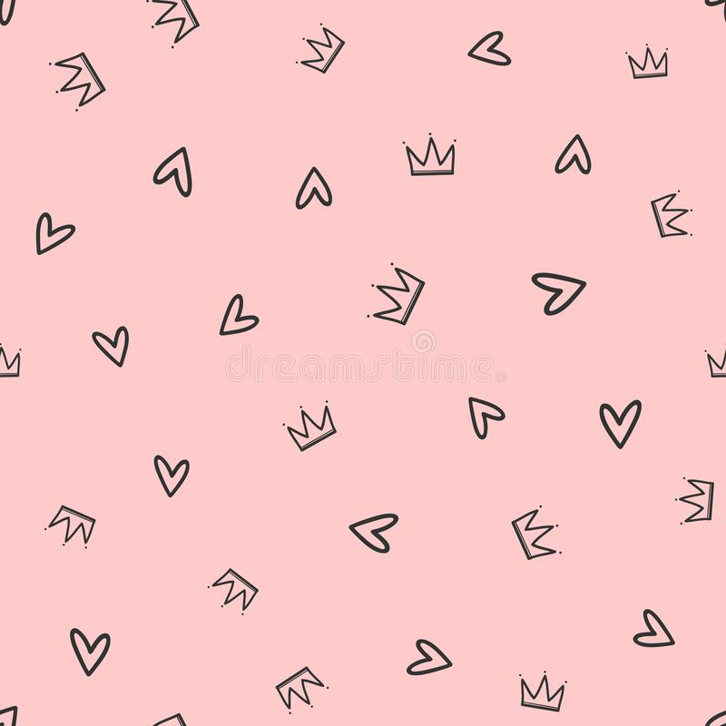 Repeated crowns and hearts drawn by hand. Cute seamless pattern for girls. stock illustration