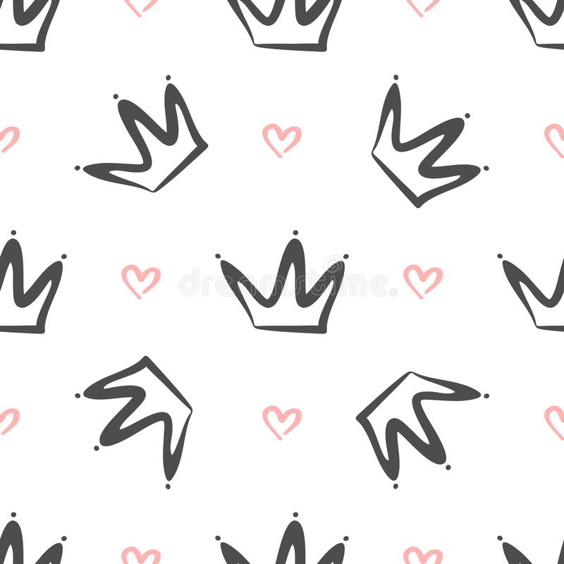 Repeated crowns and hearts drawn by hand. Simple seamless pattern. Sketch, doodle, scribble. vector illustration