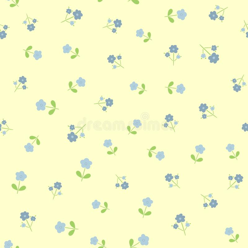 Repeated cute flowers with leaves. Seamless floral pattern for feminine and girlish design. vector illustration