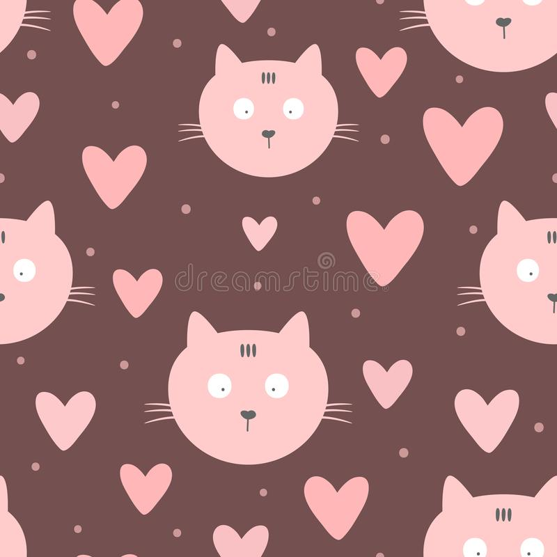 Repeated faces of cats, hearts and round dots. Cute seamless pattern for children. Endless girlish print. Girly vector illustration vector illustration