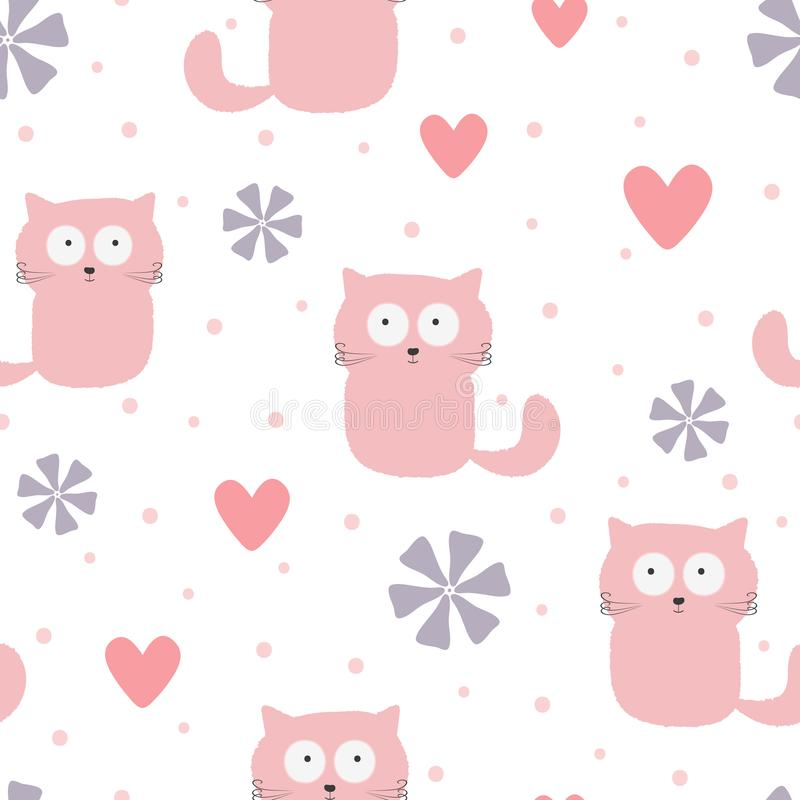 Repeated funny cats, hearts, flowers and polka dots. Cute baby seamless pattern. vector illustration