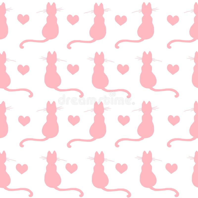 Repeated hand drawn pattern design with kittens and hearts vector illustration