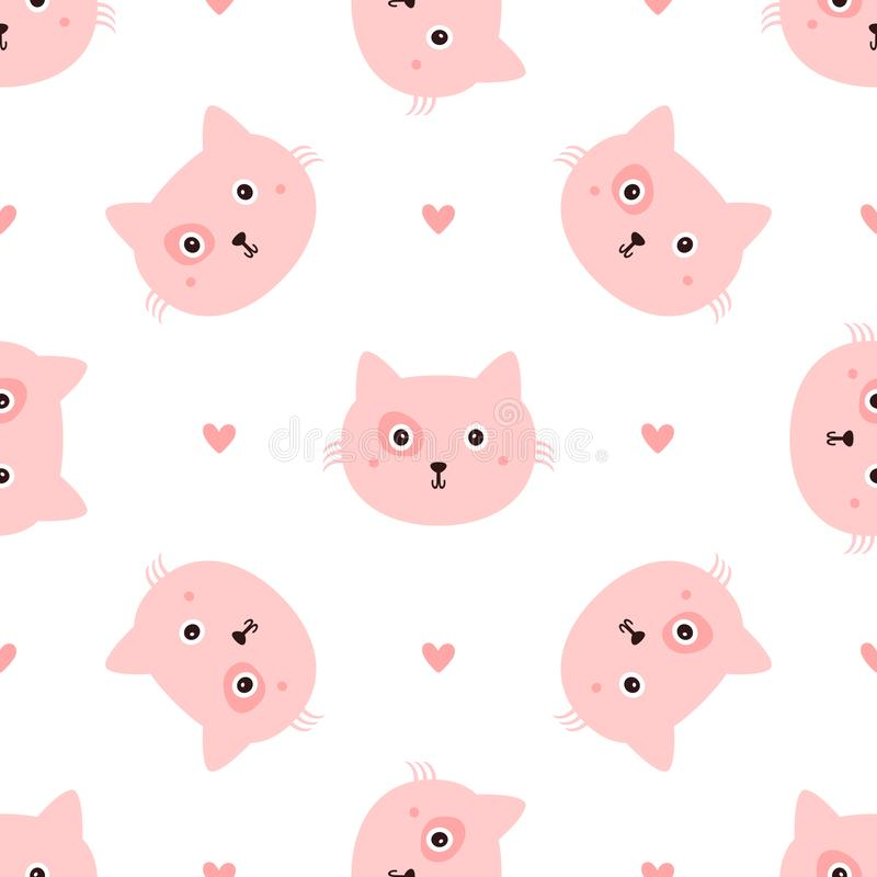Repeated head cats and hearts drawn by hand. Seamless pattern with cute animal. Endless girlish print. Girly vector illustration vector illustration
