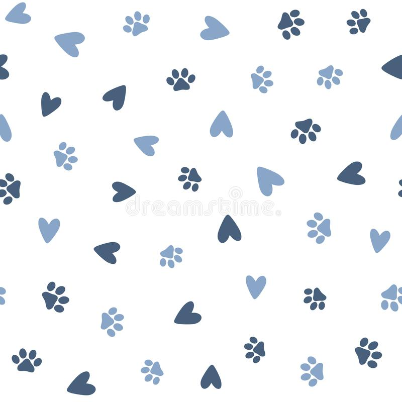 Free Repeated Hearts And Footprints Of Pets. Cute Seamless Pattern For Animals. Stock Images - 118774014
