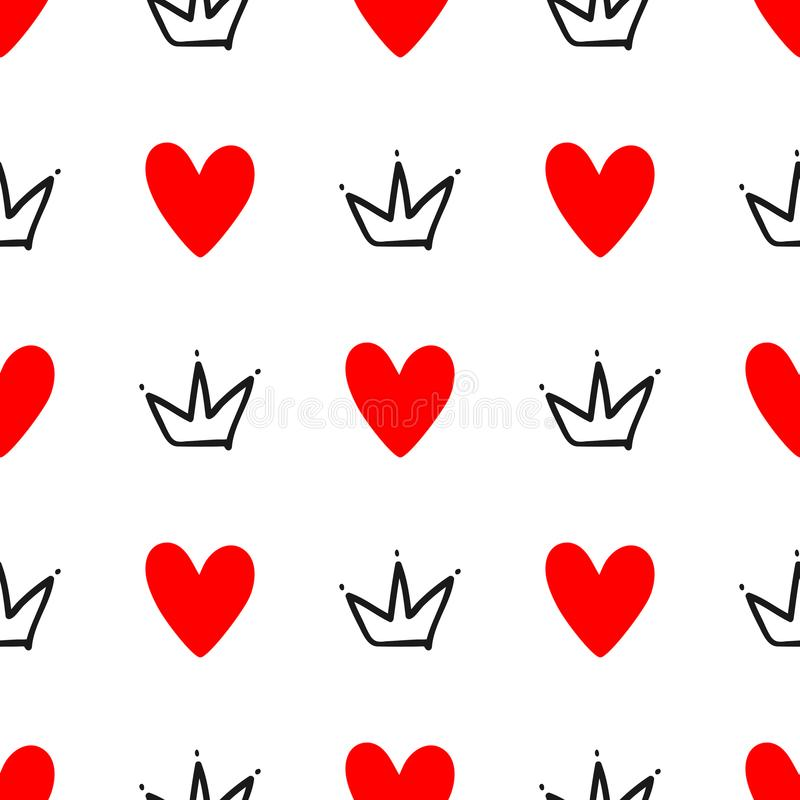 Repeated hearts and crowns drawn by hand. Cute seamless pattern. Sketch, doodle, scribble. Endless print. Vector illustration royalty free illustration