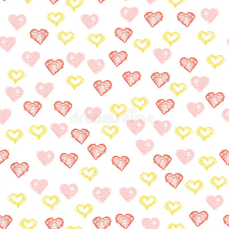Repeated hearts drawn by hand. Cute seamless pattern. Endless romantic print. Vector illustration. Repeated Handdrawn hearts. Vector illustration. Heart stock illustration