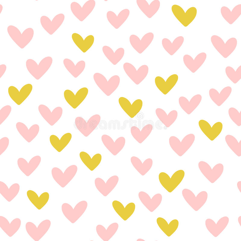 Repeated hearts. Drawn by hand. Romantic seamless pattern. royalty free illustration
