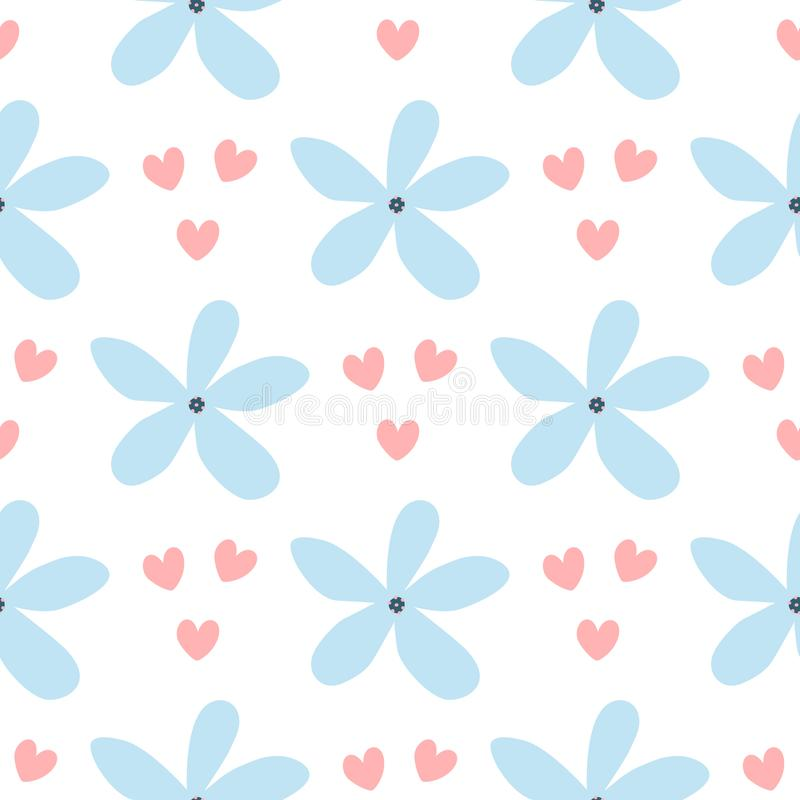 Repeated hearts and flowers drawn by hand. Simple floral seamless pattern. Cute print for girls. Girlish vector illustration royalty free illustration