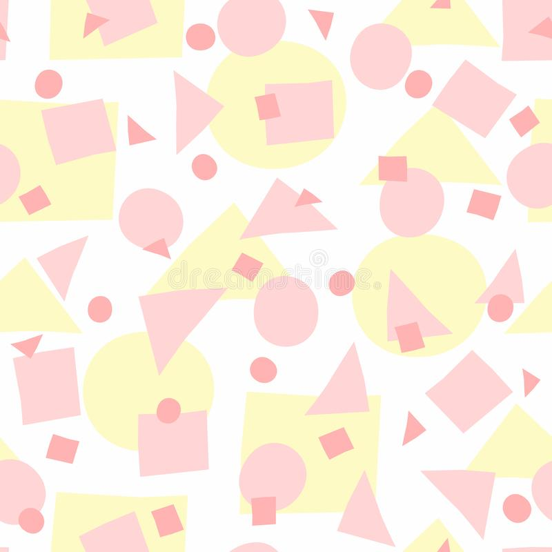 Repeated irregular geometric shapes. Simple girly seamless pattern with uneven circles, triangles and squares. Vector illustration. White, yellow, pink royalty free illustration