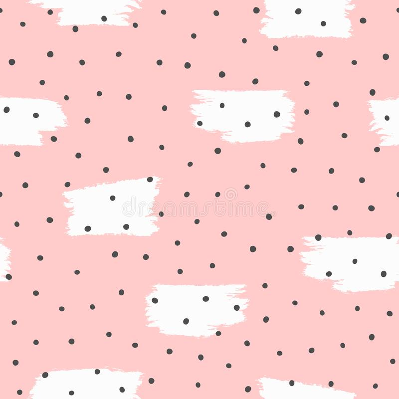 Repeated irregular polka dot and brush strokes painted with rough brush. Seamless pattern drawn by hand. Grunge, sketch, watercolour, graffiti. Cute endless stock illustration