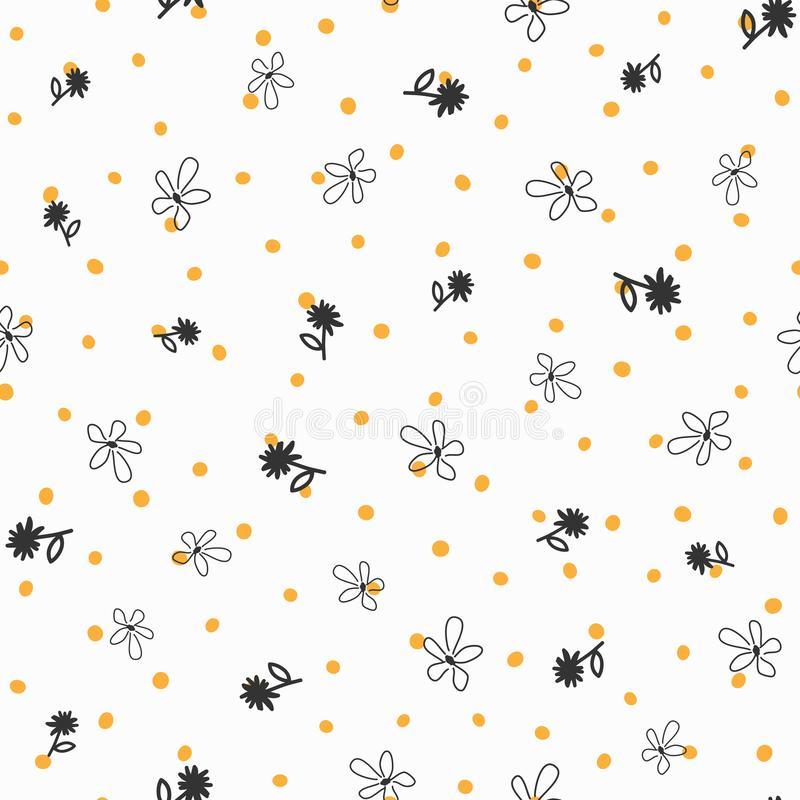 Repeated irregular polka dot and flowers drawn by hand. Floral seamless pattern. stock illustration