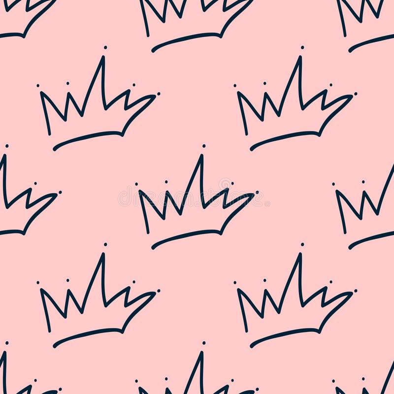Repeated outlines of crowns drawn by hand. Cute seamless pattern for girls. stock illustration