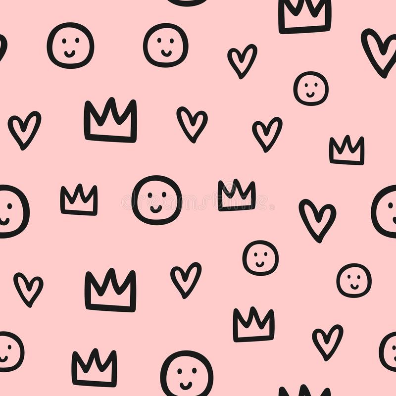 Repeated outlines of crowns, hearts and smiles. Cute seamless pattern for children. Sketch, doodle, scribble. Endless girlish print. Girly vector illustration royalty free illustration