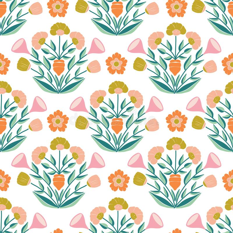 Repeated pattern design, with pastel flower composition stock illustration