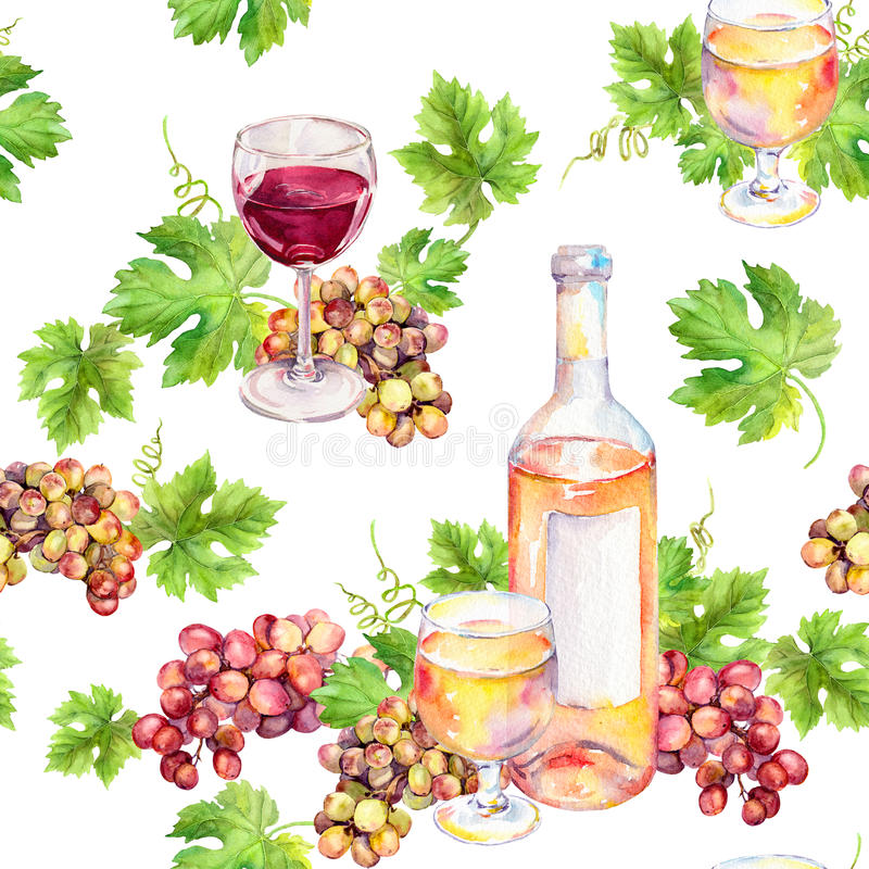 Repeated pattern. Wine glass, bottle, vine leaves, grape berries. Watercolor. royalty free illustration