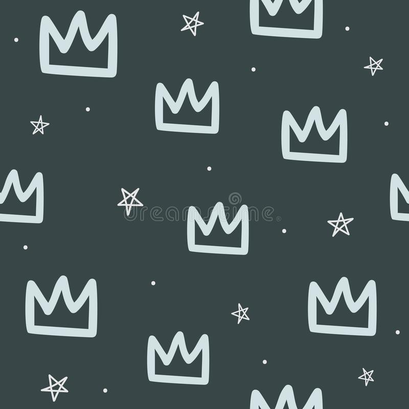 Repeated round dots, crowns and stars drawn by hand. Seamless pattern for children. stock illustration