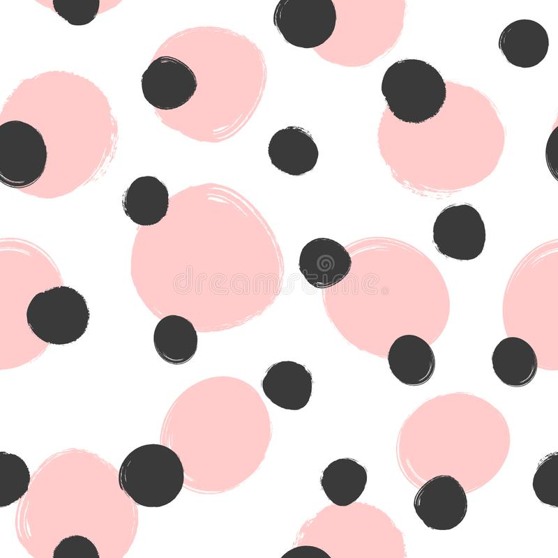 Repeated round spots painted with rough brush. Trend seamless pattern. Grunge, sketch, watercolor. Endless modern print. Girly vector illustration. White, pink stock illustration