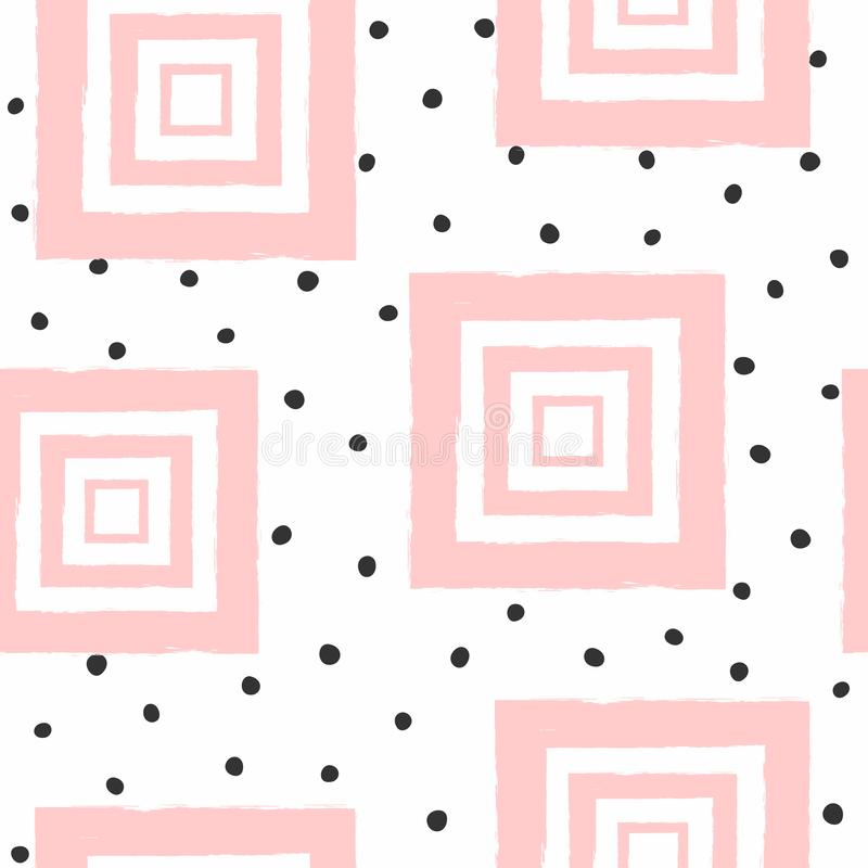 Repeated round spots and squares drawn with a rough brush. Abstract seamless pattern for girls. Watercolor, sketch, paint. royalty free illustration