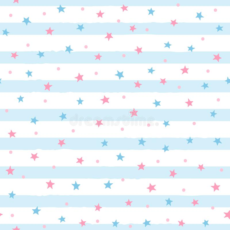 Repeated scattered stars and round dots on uneven striped background. Cute seamless pattern for girls. stock illustration