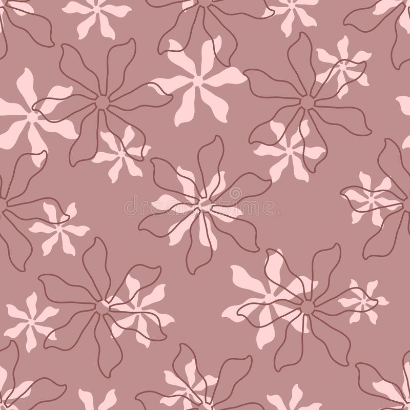 Repeated silhouettes and contours of flowers. Floral seamless pattern for women. vector illustration