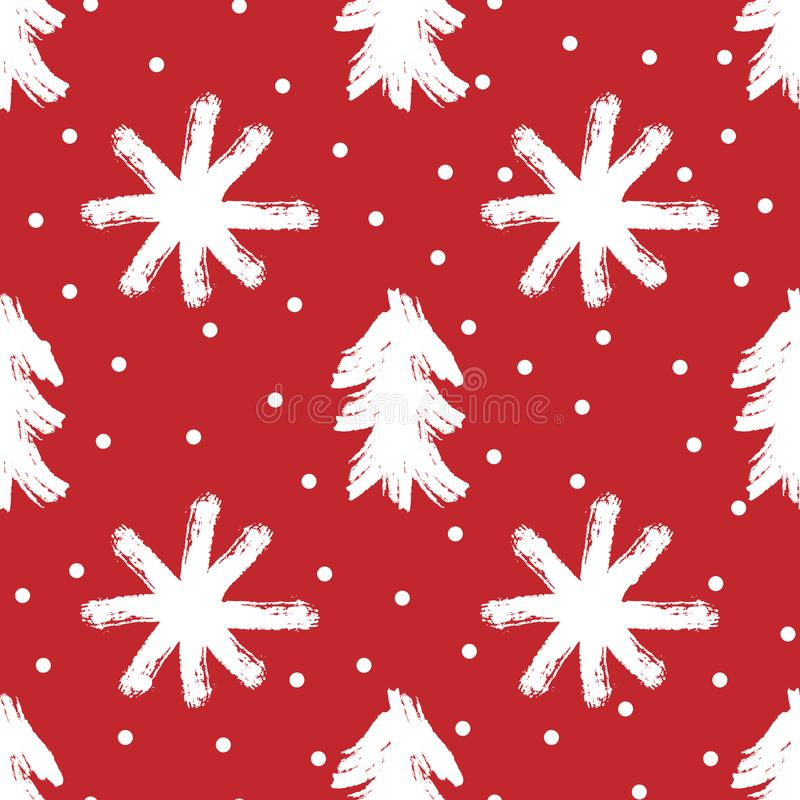 Repeated silhouettes of trees and snowflakes painted with rough brush. New Year seamless pattern. vector illustration