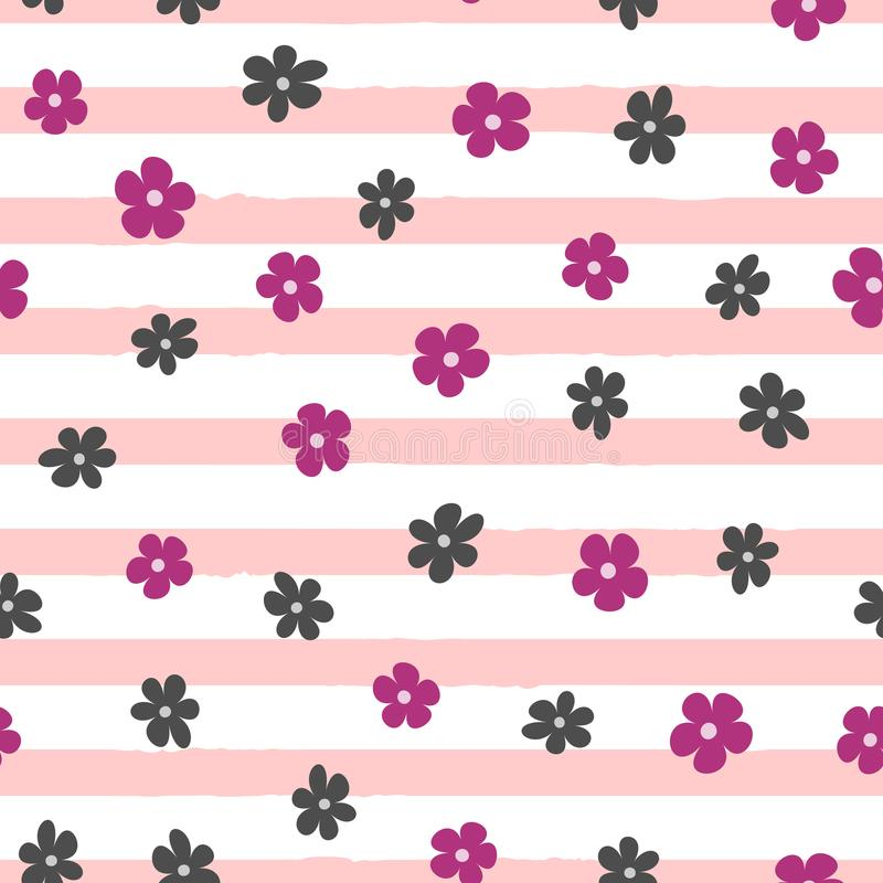 Repeated small abstract flowers on uneven striped background. Cute floral seamless pattern. royalty free illustration