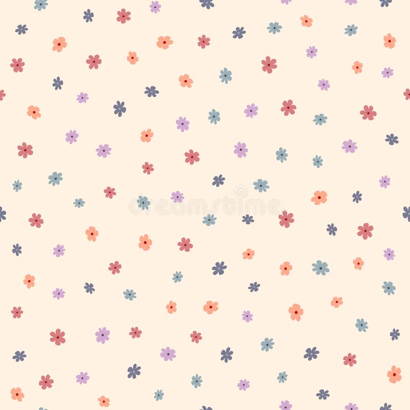 Repeated small cute flowers. Simple floral seamless pattern. Endless feminine print. stock illustration