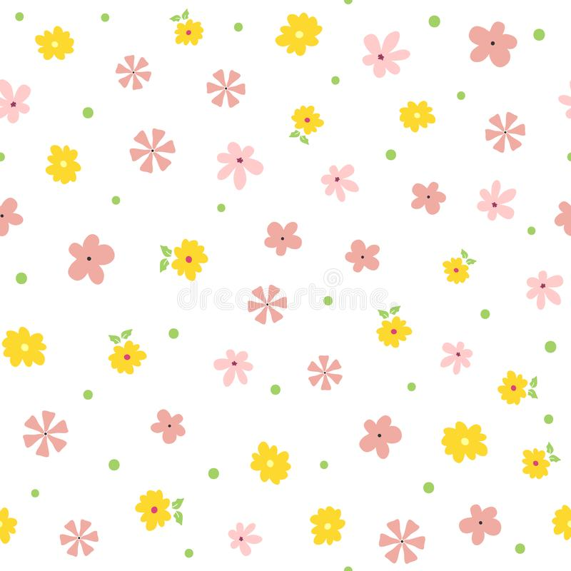 Repeated small flowers, leaves and polka dot. Cute floral seamless pattern. royalty free illustration