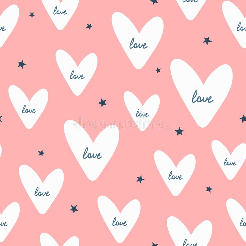 Free Repeated Stars And Hearts With Handwritten Text Love. Romantic Seamless Pattern. Stock Image - 116539551