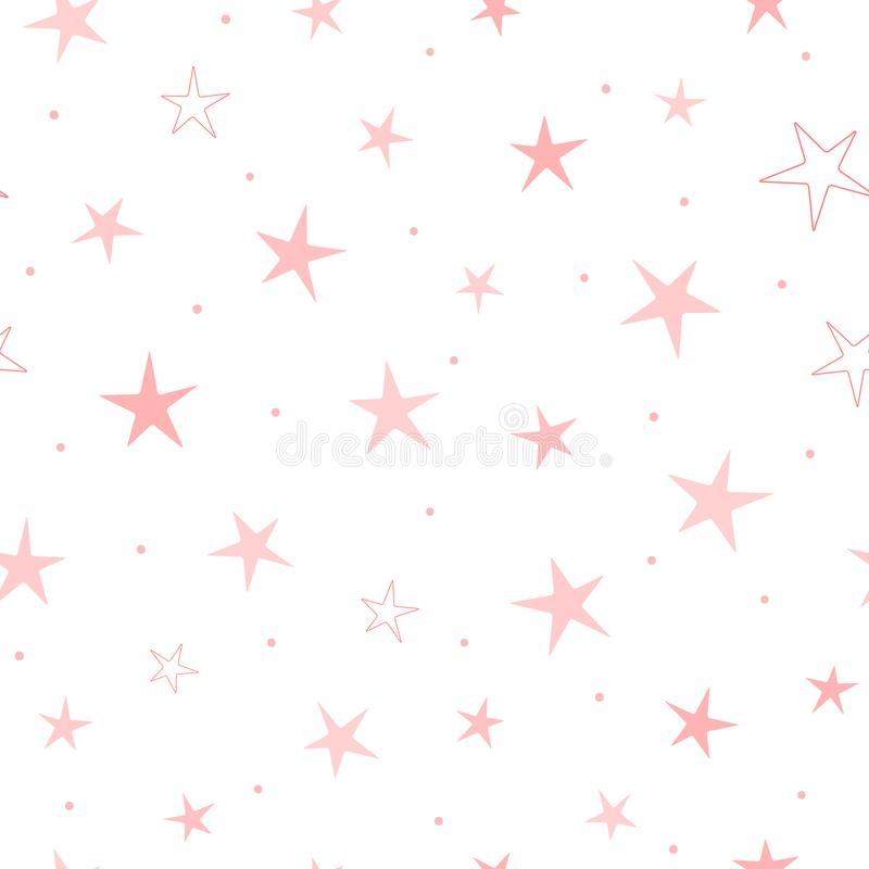 Free Repeated Stars And Round Dots. Cute Seamless Pattern For Girls. Endless Girlish Print. Royalty Free Stock Photo - 118894025